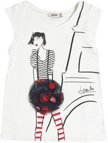 Junior Gaultier Girl Print Viscose Jersey T-Shirt