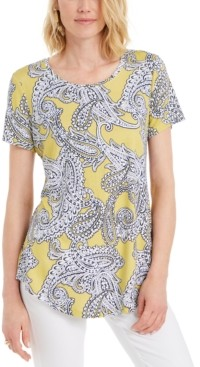 JM Collection Plus Size Paisley-Print Top, Created for Macy's