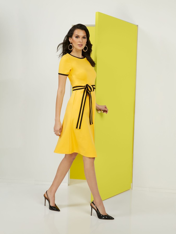 New York & Co. Petite Colorblock Ponte Dress - Superflex