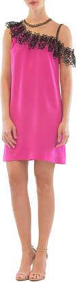 Nha Khanh Off-the-Shoulder Ruffle-Trim Short Dress