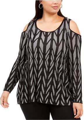 Belldini Plus Size Cold-Shoulder Sweater