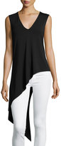 Haute Hippie Sleeveless Asymmetric V-Neck Top, Black