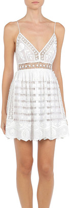 Alberta Ferretti Hand-Embroidered Cotton Mini Dress