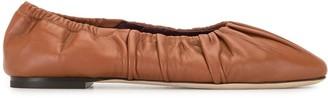 STAUD Gathered Leather Ballerina Flats