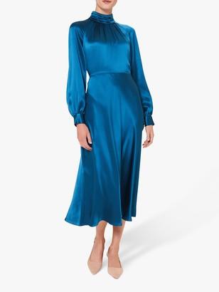 Hobbs Haisley Silk Satin High Neck Midi Dress, Kingfisher Blue