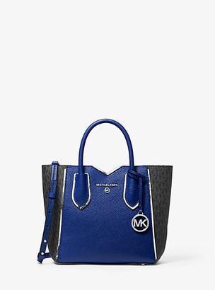MICHAEL Michael Kors Mae Small Pebbled Leather And Logo Messenger Bag