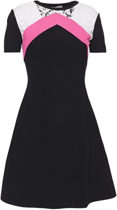 Valentino Lace-trimmed Color-block Stretch-knit Mini Dress