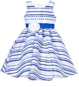 White & Blue Stripe Tulle Dress - Infant Toddler & Girls