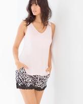 Soma Intimates Cool Nights Tank/Shorts Pajama Set Spotted Rose Quartz