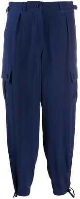 Aspesi Cropped Silk Cargo Trousers