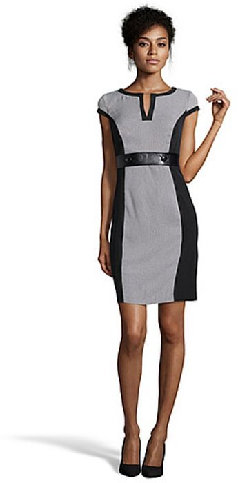 SD Collection black and white houndstooth and faux leather cap sleeve dress