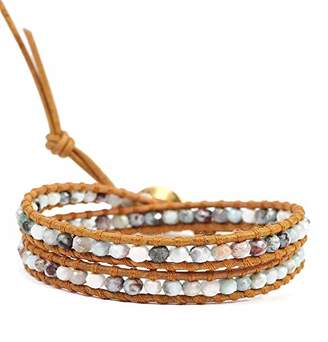 Chan Luu Dainty Green Mix Mineral Stone Tan Leather Goldtone Wrap Bracelet