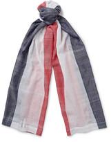 Thom Browne Striped Cotton-Gauze Scarf