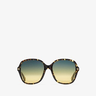 Gucci GG0092S (Spotted Dark Havana/Gradient Grey AR) Fashion Sunglasses