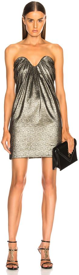 Saint Laurent Metallic Bustier Mini Dress in Black, Gold & Silver | FWRD