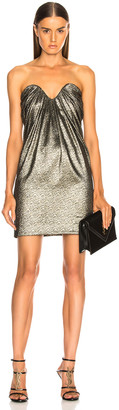 Saint Laurent Metallic Bustier Mini Dress in Black, Gold & Silver | FWRD