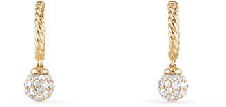 David Yurman Solari Pave Diamond Ball Drop Hoop Earrings