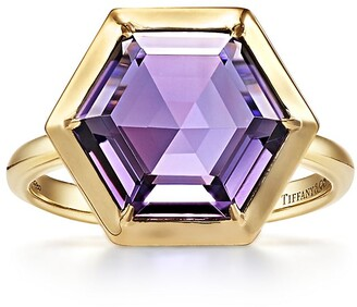 Tiffany & Co. Paloma's Studio hexagon ring in 18k gold with an amethyst