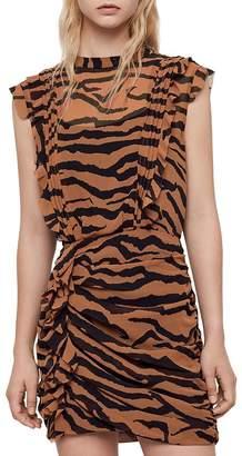 AllSaints Hali Zephyr Ruched Ruffled Dress