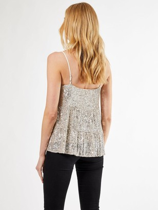 Dorothy Perkins Tiered Sequin Cami Top - Silver