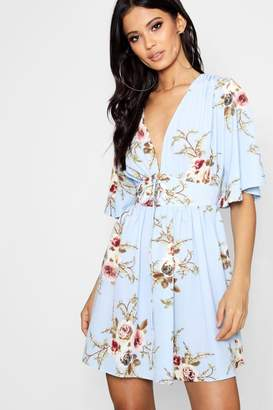 boohoo Lace Up Front Angel Sleeve Skater Dress