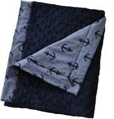 Cozy Wozy Luxurious Anchor Print Chambray Baby Blanket with Minky, Navy Blue, 32 x 37
