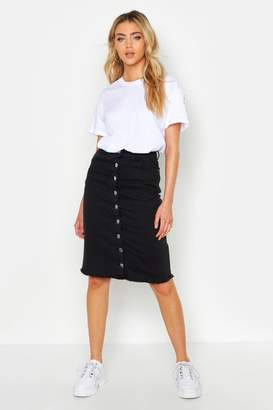 boohoo Button Front Stretch Midi Denim Skirt