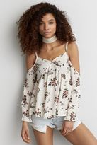 American Eagle Outfitters AE Printed Cold Shoulder Top