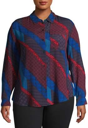 Lord & Taylor Plus Mixed-Print Long-Sleeve Shirt