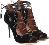 Malone Souliers Lace-Up Velvet Sandals