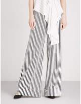 Self-Portrait Monochrome Stripe wide-leg stretch-cotton trousers