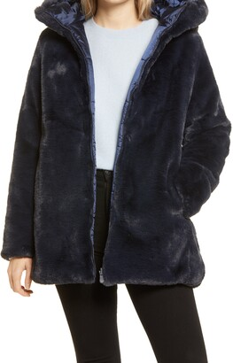 Save The Duck Waterproof Reversible Hooded Faux Fur Coat