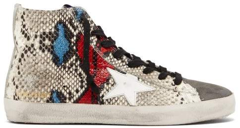 Golden Goose Francy High Top Python Effect Trainers - Womens - Python