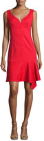 Nanette Lepore Sparkler Sleeveless Stretch Poplin Flounce Dress, Cherry Red