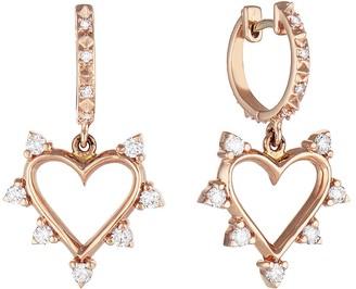 Marlo Laz Spiked Diamond Heart Drop Earrings - Rose Gold