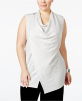 Alfani Plus Size Asymmetrical Cowl-Neck Top, Only at Macy's
