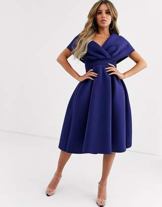 Asos Design fallen shoulder midi prom dress with tie detail-Blue