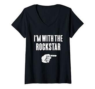 Womens I'm With The Rockstar Funny Halloween Couple Costume Gift V-Neck T-Shirt