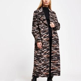 River Island Womens Brown animal print longline coat