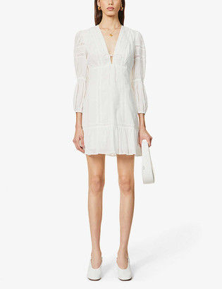 Reformation Cecille broderie puff-sleeve organic cotton mini dress