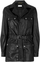 Saint Laurent belted leather coat - women - Lamb Skin - 38