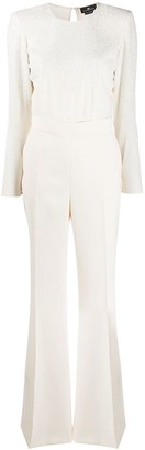Elisabetta Franchi Bead Embroidered Flared Jumpsuit