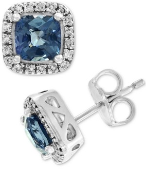Effy Grey Spinel (1-3/8 ct. t.w.) & Diamond (1/8 ct. t.w.) Stud Earrings in 14k White Gold
