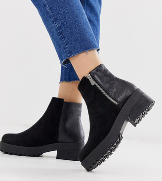 Park Lane wide fit side zip boot in black mix