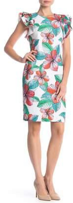 Tommy Hilfiger Hibiscus Floral Scuba Flutter Sleeve Dress