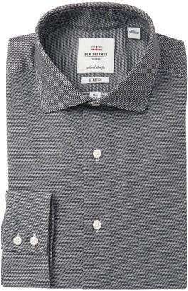 Ben Sherman Diagonal Stripes Stretch Tailored Slim Fit Dress Shirt