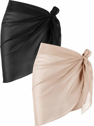 Chuangdi 2 Pieces Women Beach Wrap Sarong Cover Up Chiffon Swimsuit Wrap Skirts (Black and White)