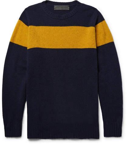 The Elder Statesman Striped Intarsia Cashmere Sweater