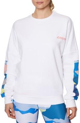 Betsey Johnson Crewneck Cotton-Blend Fleece Sweatshirt