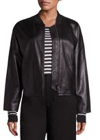 Vince Leather Drop Shoulder Bomber Jacket